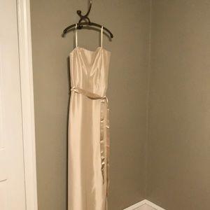 Ann Taylor Cream Silk sleeveless gown